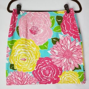 Lilly Pulitzer Floral Back Zip Pencil Skirt Size 6